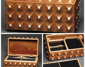 Large Custom Made Jewelry Box with Secret Compartment and Removable Tray