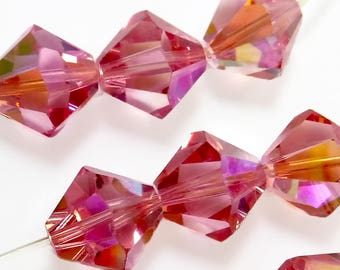 6 pcs 12mm Rose AB Crystal Beads Bicone Article 5301 5328 Faceted B-240