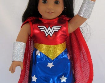Doll Clothes Wonder Woman Costume fits American Girl or other 18 inch dolls by Special Order