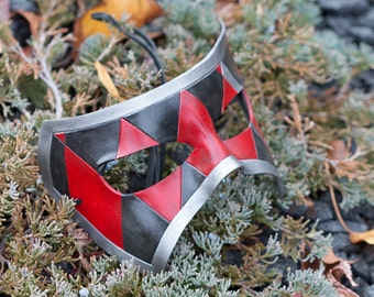 Red, Black, Silver Leather Jester Masquerade Mask
