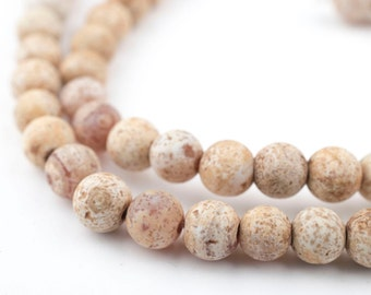65 Sandstone Agate Beads - 6mm Round Stone Beads - Natural Eco-Friendly Brown Beads - Jewelry Making Supplies (TAG-RND-BRN-129)