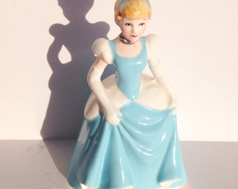 Vintage Disney Princess Cinderella figurine. Blue ball gown dress.