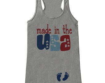 Pregnancy Announcement - Made in the USA - 4th of July Pregnancy Reveal Tank - Grey Tank - Pregnancy Fourth of July Shirt - Mom to Be Tank