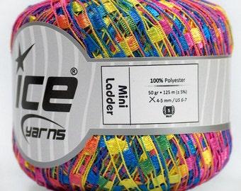 ice yarns mini ladder ribbon yarn Yellow Pink Blue Trellis 1 skein knitting crochet daily bulky chunky 46584