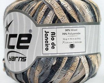 ICE YARNS Rio de Janeiro Grey Shades Cream  1 skein 50gr bulky 76 yrds chunky craft rug yarn 45753