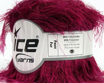 ICE YARNS Faux Fur burgundy 100gr 54yrds eyelash type yarn knitting crochet polyamide polyester bulky chunky 36774