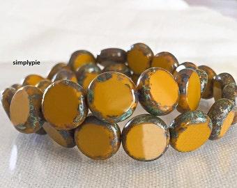Mustard Picasso Beads, Table-Cut Coin, Czech Glass Beads, 11mm, 10 Opaque Beads