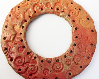 Pottery for Tenerife Teneriffe, Dreamcatcher Style Basket Start, Orange Red Spirals