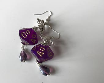 borealis dice purple dice D100 dice earrings dice jewelry dungeons and dragons D100 earrings polyhedral dice pathfinder earrings dice D100