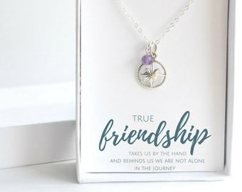 Best Friend Gift - BFF Necklace - Custom Gift for Friend - Friendship Necklace - Sterling Silver Compass Necklace - Gift for Friend
