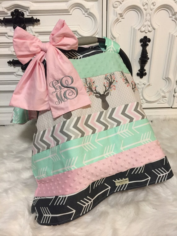 Car Seat Cover , OOAK  , comes with bow and name , car seat cover , car seat canopy , carseat cover , carseat canopy , nursing cover