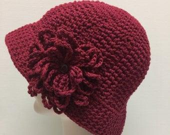 Burgundy Cotton Crochet Sun hat, Winter hat, Great for Chemo Patients, Size Medium, Brimmed hat