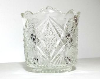 EAPG Spooner with Diamonds & Fans Design / Antique US Glass Spooner  / 1897 Pennsylvania 15048 Spoonholder / Antique Balder Spooner