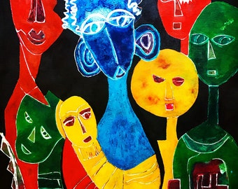 Family Love - ooak - 20 x 16ins (50 x 40cms) This family sticks together through thick and thin