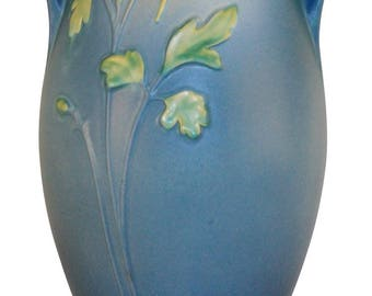 Roseville Pottery Columbine Blue Vase 27-16