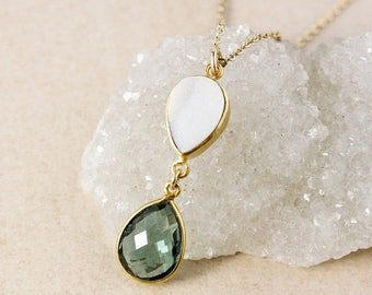 50% OFF Teal Quartz and White Druzy Necklace – 14K Gold Filled