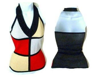 Halter - Pullover - Metallic - Stretch - Color Block - Red - Black - Silver - Gold - Sequins - Evening - Glamour - Wedding - Layer -Recycled