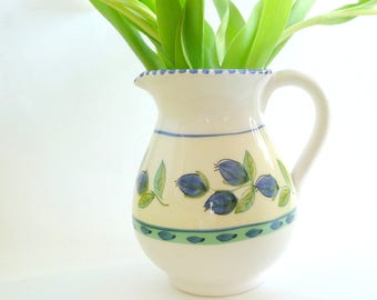 Pitcher - Ceramic - White - Royal - Tulips - Leaves - Blue - Green - Shabby Chic - Cottage - Beach - Garden - Recycled - Eco Friendly