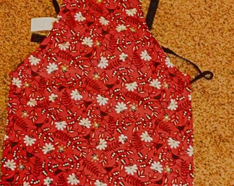 """Children's Handmade Reversible Apron or Artist Smock 20"""" long, Flowers on red, white swirls, apron, baking apron, girl clothing KBD208"""