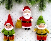 Santa and Elves - Father Christmas - Elf - Gnome - PDF - Doll knitting pattern