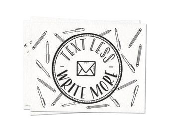 Text Less. Write More. Badge - Letterpress Postcard Set of Five