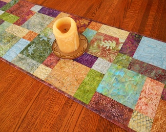 Quilted Batik Table Runner in Island Batik's Sea Foam, Blue Purple Green, Quilted Table Topper, Batik Table Mat, Quilted Tablecloth