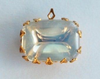 Vintage Glass White Opal Octagon Pendant Brass Setting 18x13mm