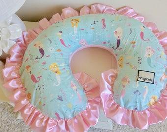 Mermaid Nursing Pillow Cover, Pink Boppy Cover, Aqua Boppy Cover, Girl Nursing Pillow Cover, Mermaid Boppy Cover