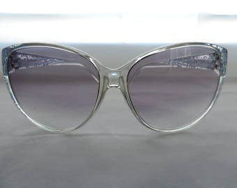 vintage blue sunglasses 70's boho sunglasses Foster Grant clear spatter retro eyewear new old stock