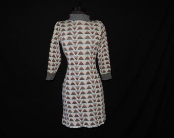 mod sweater dress 1960s metallic triangle print knit turtleneck dress bleeker street medium