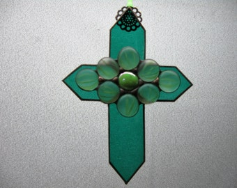 Stained Glass Cross Embellished with Glass Nuggets