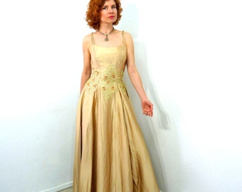 1940s Emma Domb dress Gold Yellow Satin Gown Rhinestone Studded Bead Soutache Evening Dress