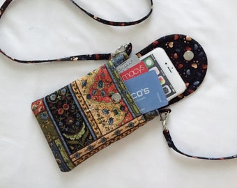 Iphone 6 Plus Smart Phone Gadget Case Detachable Neck Strap Quilted Patchwork Print Earth Tones