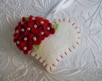 Valentine Felt Flower Heart Ornament  Beaded Red Decoration