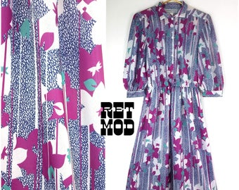 Lovely and Comfy Vintage 70s 80s Purple, Blue, White Abstract Floral Elastic Waist Dress with Billowy Sleeves!