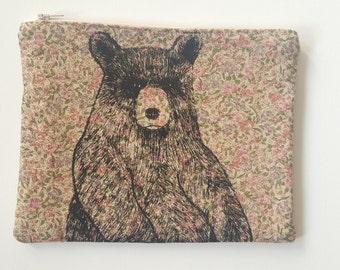 Bear illustration screen printed floral make up bag/clutch - Large
