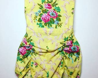 Yellow Rose Bib Romper