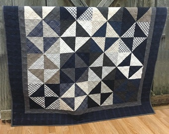 Throw Quilt Lakeside Gatherings HANDMADE Patchwork Quilt Little Gatherings Quilt Moda Blue Navy Cream 62x62
