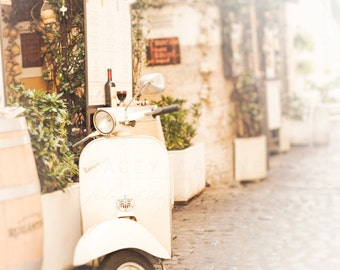 Vespa Photograph, Italy Photography, Travel Images, Wall Art Print - Trastevere Rome, White Scooter, Landscape Photo, Romantic Home Decor