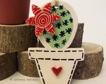 Pottery Cactus Ceramic Hanging decoration Illustrated cactus pottery decoration