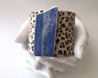 """leather cuff bracelet  - leopard hair on hide with lapis - 2"""" wide"""