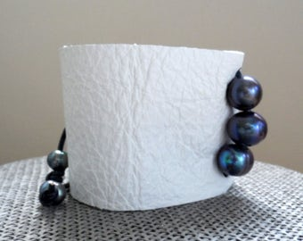 """pearl and leather cuff bracelet, 2"""" wide"""