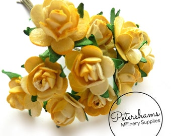 12 Yellow Miniature Paper Roses Flower Wired Picks for Millinery & Tiara Making
