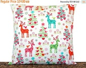 Black Friday Sale Nordic Christmas Pillow Cover Cushion Reindeer Birds Hearts Trees Floral Primitive White Red Pink Green Orange Turquoise D
