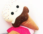 Happy Ice Cream Cone Cushion, Ice Cream Plush, Cute Pillow, Home Decor, Vanilla Ice Cream, Kids Room Decor, Gift for Her, Girls Bedroom