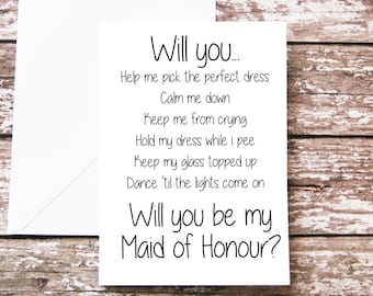 Will you be my Maid of Honour Card, Head Bridesmaid Proposal, Funny Bridal Party, For Her, Wedding Party - Maid of Honor - Bridesmaid