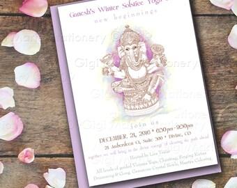 GANESH - Ganesha - Hindu God - Ganapati - Vinayaka - Lord of Good Fortune  - Printed INVITATIONS with Envelope