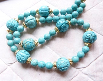 Turquoise Necklace, Antique Chinese carved turquoise Shou beads necklace, Longevity Beads