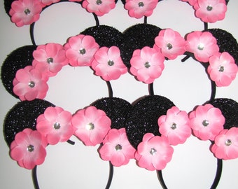 6 minnie mickey mouse inspired party favor headband bow ears disneyland birthday DIY hair accessorie lily flowers  You choose colors