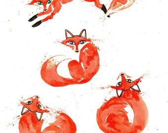 minimalist watercolor print: Fox Fource II